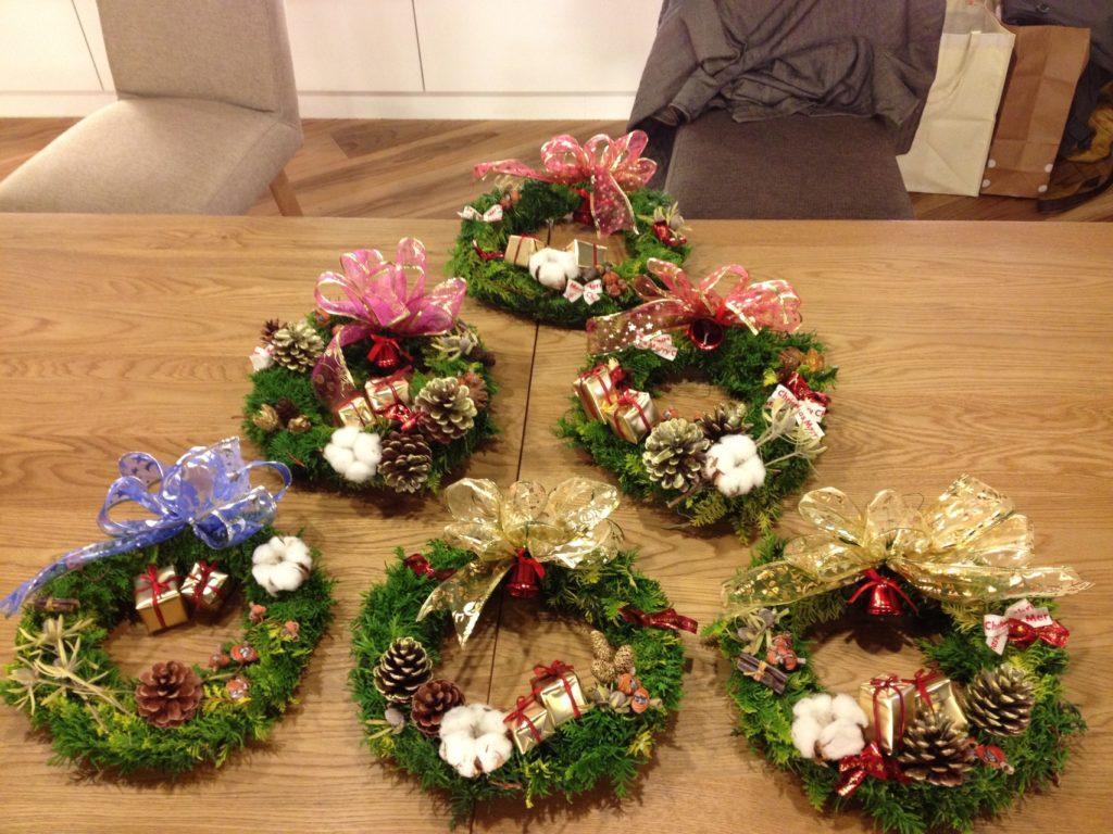 平成24年12月 クリスマスリース教室(花畑にて)